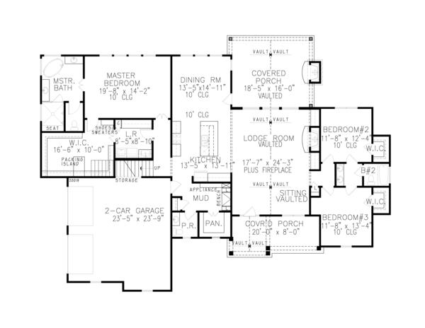 Farmhouse Floor Plan - Main Floor Plan Plan #54-389
