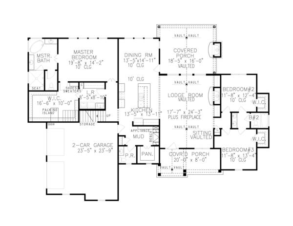 Home Plan - Farmhouse Floor Plan - Main Floor Plan #54-389