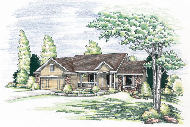 Traditional Style House Plan - 3 Beds 2 Baths 1919 Sq/Ft Plan #20-619 Exterior - Front Elevation
