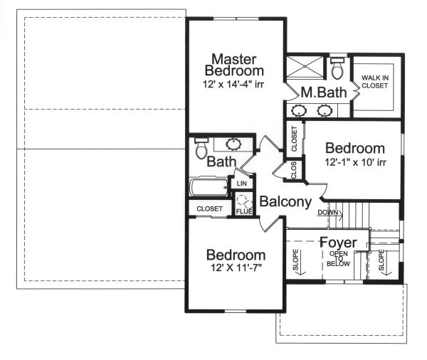 Traditional Floor Plan - Upper Floor Plan Plan #46-890
