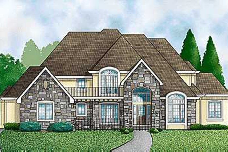 European Style House Plan - 4 Beds 4 Baths 3921 Sq/Ft Plan #67-239