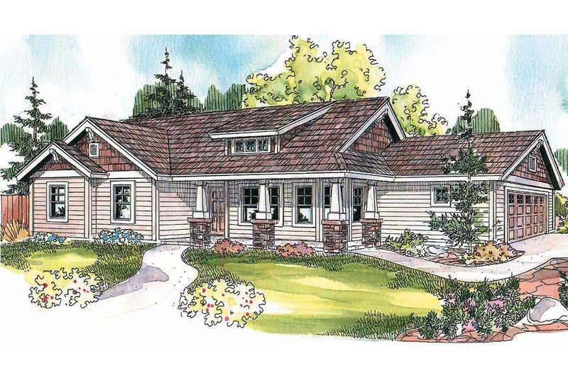 Craftsman Style House Plan - 3 Beds 2 Baths 1484 Sq/Ft Plan #124-695 Exterior - Front Elevation