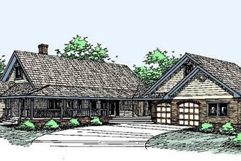 Traditional Style House Plan - 3 Beds 2 Baths 2499 Sq/Ft Plan #60-290 Exterior - Front Elevation