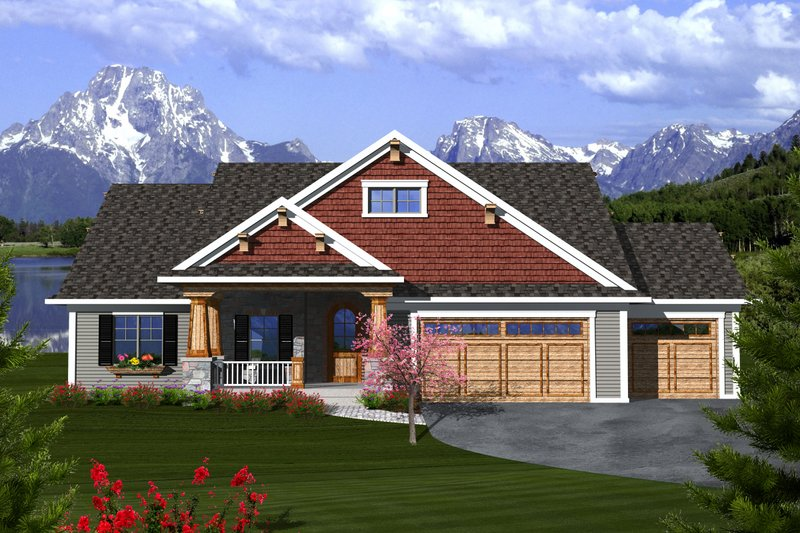 Ranch Exterior - Front Elevation Plan #70-1112