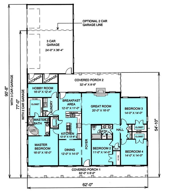 Country Floor Plan - Main Floor Plan #44-123