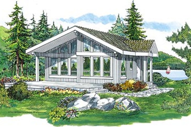 Traditional Style House Plan - 2 Beds 1 Baths 817 Sq/Ft Plan #47-307 Exterior - Front Elevation