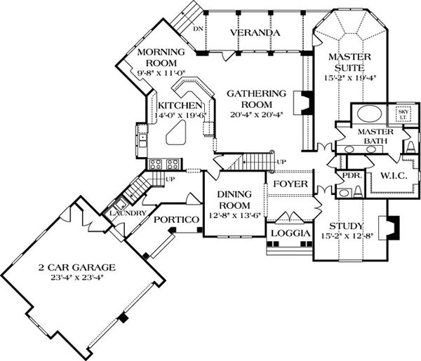 European Floor Plan - Main Floor Plan Plan #453-36