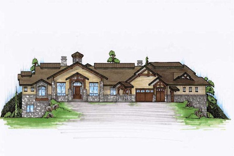 Traditional Style House Plan - 4 Beds 4.5 Baths 3316 Sq/Ft Plan #5-344 Exterior - Front Elevation