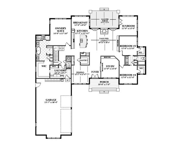 Farmhouse Floor Plan - Main Floor Plan Plan #898-48