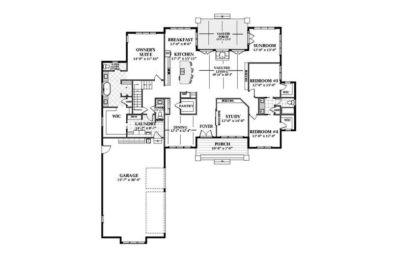 Farmhouse Floor Plan - Main Floor Plan Plan #898-48