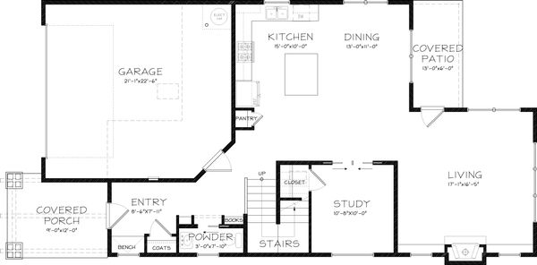 Craftsman Floor Plan - Main Floor Plan Plan #434-22