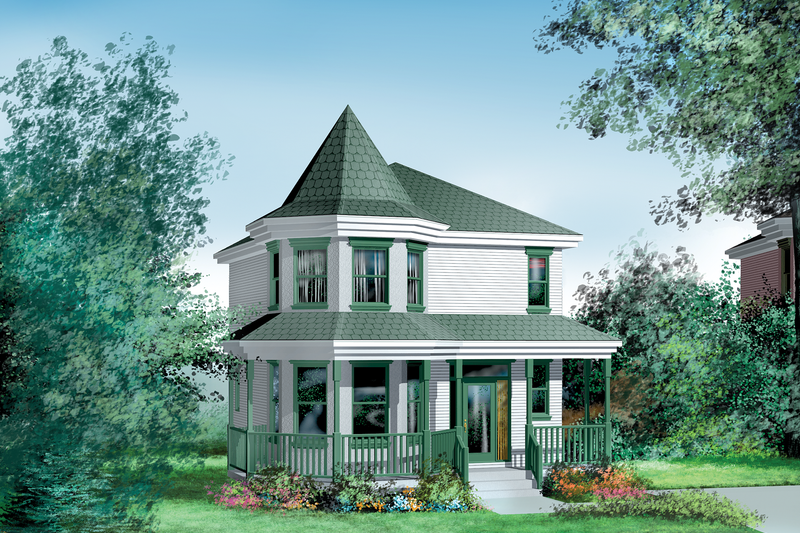 Victorian Style House Plan - 3 Beds 1.5 Baths 1444 Sq/Ft Plan #25-2032