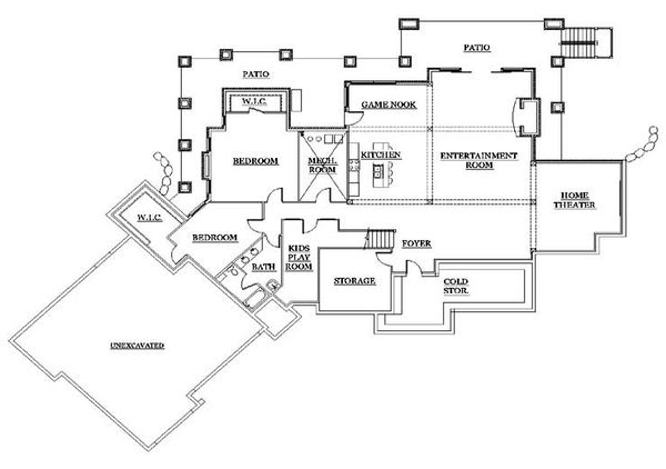 Traditional Floor Plan - Lower Floor Plan Plan #5-337