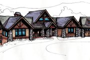 Craftsman Style House Plan - 4 Beds 4.5 Baths 4419 Sq/Ft Plan #921-10 Exterior - Front Elevation