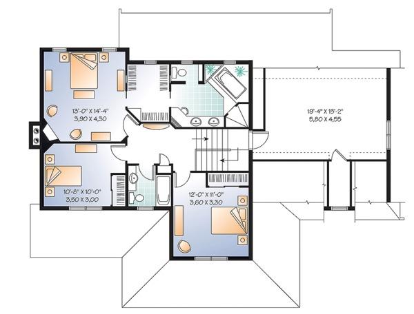 Farmhouse Floor Plan - Upper Floor Plan Plan #23-2651