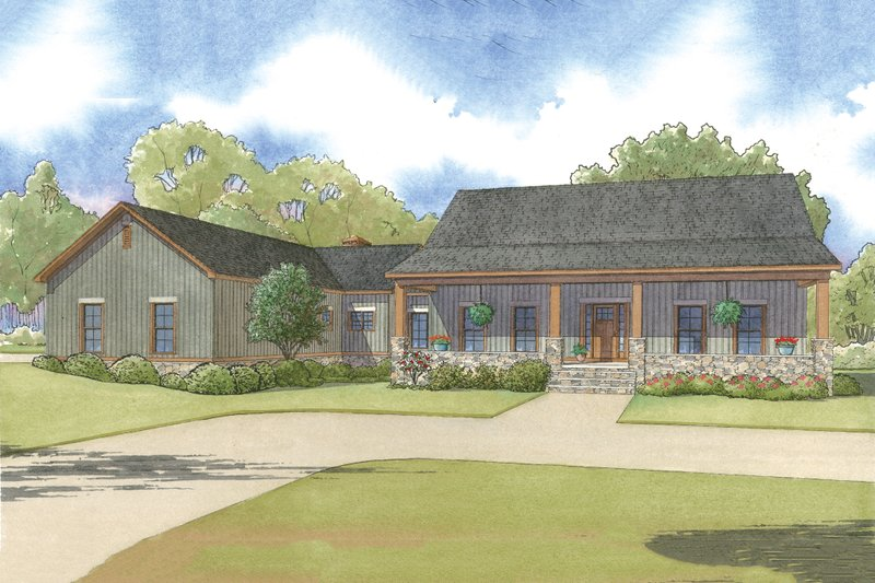 Country Style House Plan - 3 Beds 3 Baths 2921 Sq/Ft Plan #17-2592 Exterior - Front Elevation