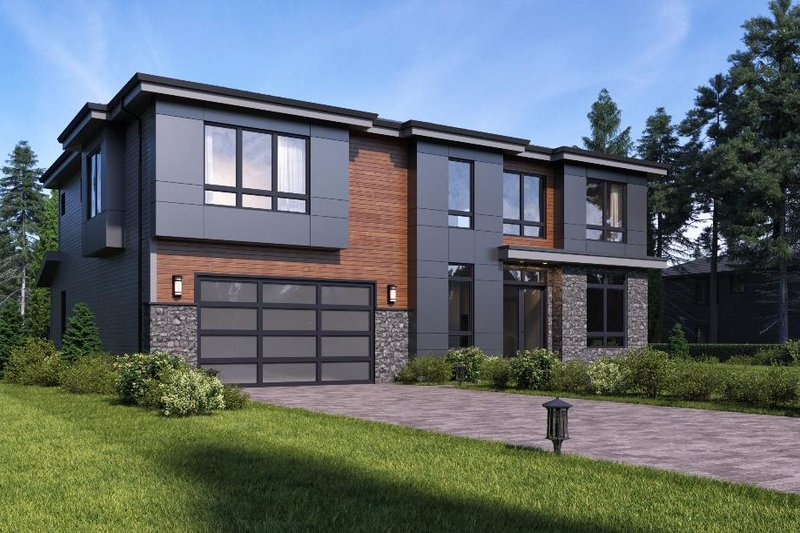 Contemporary Style House Plan - 4 Beds 3 Baths 3355 Sq/Ft Plan #1066-51 Exterior - Front Elevation