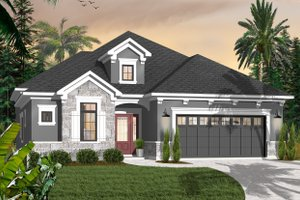 Home Plan Design - Mediterranean Exterior - Front Elevation Plan #23-2215