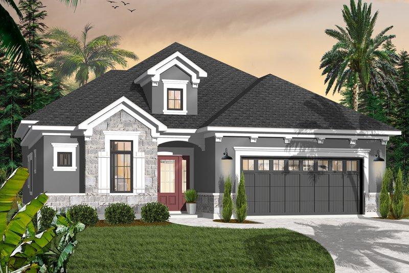 House Plan Design - Mediterranean Exterior - Front Elevation Plan #23-2215