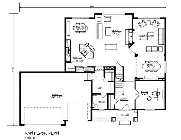 Traditional Floor Plan - Main Floor Plan Plan #320-500