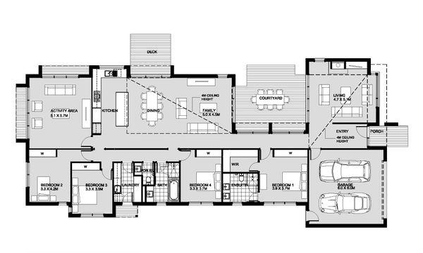 Modern Floor Plan - Main Floor Plan #496-23