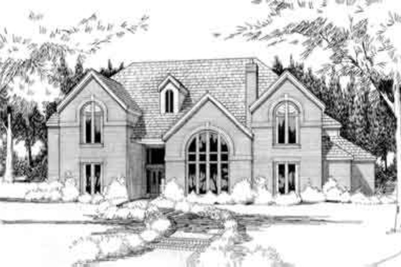 Traditional Style House Plan - 5 Beds 5 Baths 4743 Sq/Ft Plan #120-101 Exterior - Front Elevation
