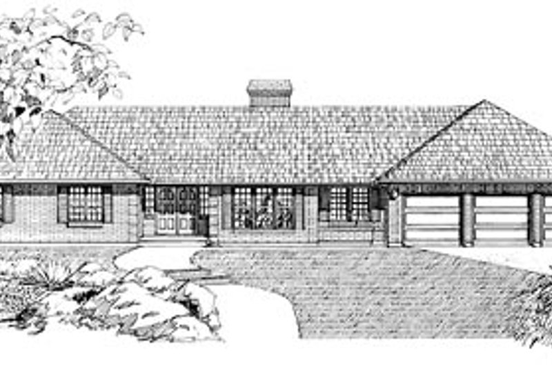 Ranch Style House Plan - 3 Beds 2.5 Baths 2559 Sq/Ft Plan #47-184 Exterior - Front Elevation