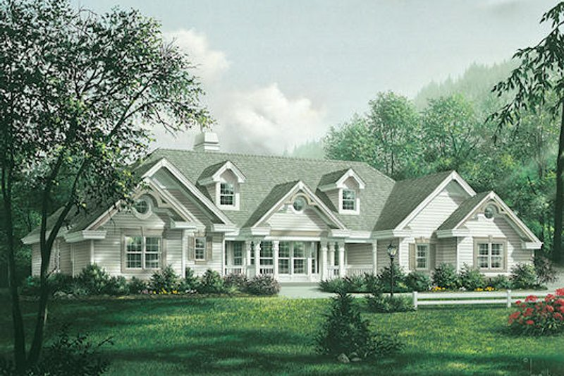 Southern Exterior - Front Elevation Plan #57-355