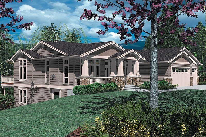 Craftsman Style House Plan - 3 Beds 2.5 Baths 3246 Sq/Ft Plan #48-169 Exterior - Front Elevation