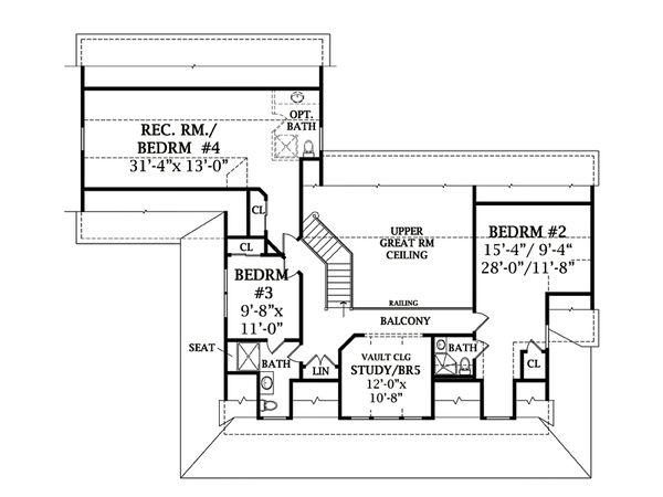Southern Floor Plan - Upper Floor Plan Plan #456-14