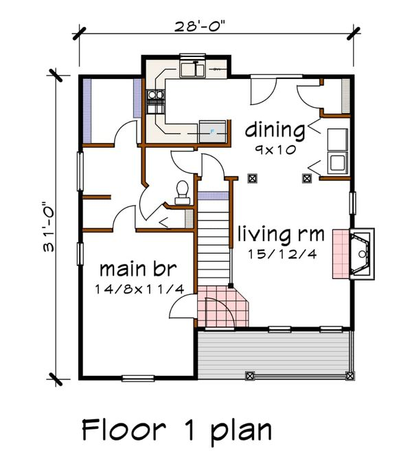 Cottage Floor Plan - Main Floor Plan Plan #79-155