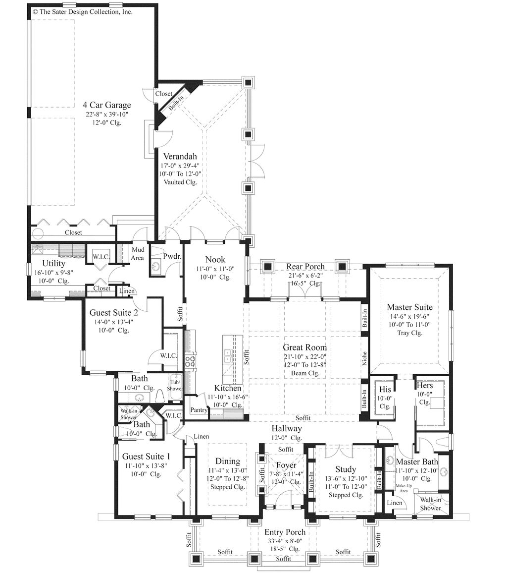 Bungalow style house plan 3 beds 3 5 baths 3108 sq ft for Large house floor plans