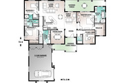 Mediterranean Style House Plan - 3 Beds 3 Baths 2489 Sq/Ft Plan #23-2223 Floor Plan - Main Floor Plan