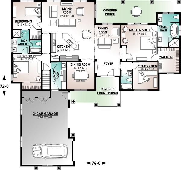 Architectural House Design - Mediterranean Floor Plan - Main Floor Plan #23-2223