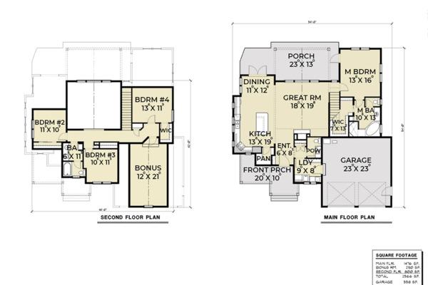 Craftsman Floor Plan - Main Floor Plan #1070-29