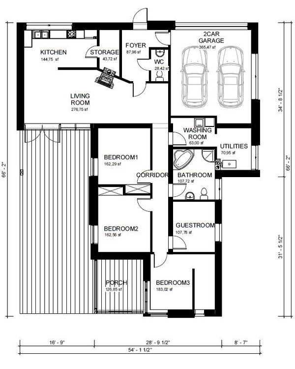 Ranch Floor Plan - Main Floor Plan Plan #906-1
