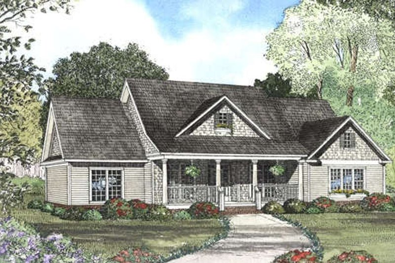 Country Style House Plan - 4 Beds 3.5 Baths 2261 Sq/Ft Plan #17-2048