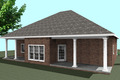 Southern Style House Plan - 3 Beds 2 Baths 1640 Sq/Ft Plan #44-168 Exterior - Rear Elevation