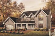 European Style House Plan - 4 Beds 2.5 Baths 2521 Sq/Ft Plan #57-176 Exterior - Front Elevation