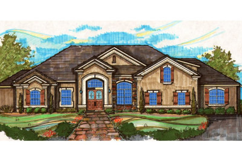 European Style House Plan - 4 Beds 4 Baths 3960 Sq/Ft Plan #135-175 Exterior - Front Elevation