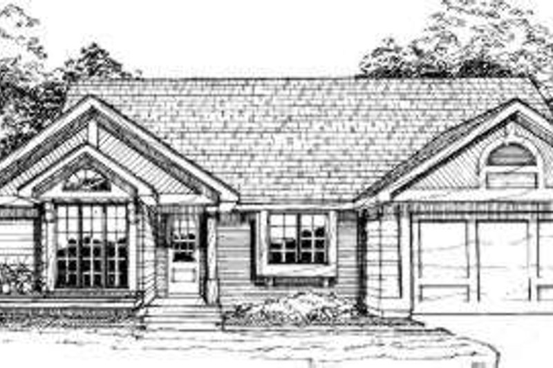 Ranch Style House Plan - 3 Beds 2 Baths 1307 Sq/Ft Plan #320-118 Exterior - Front Elevation