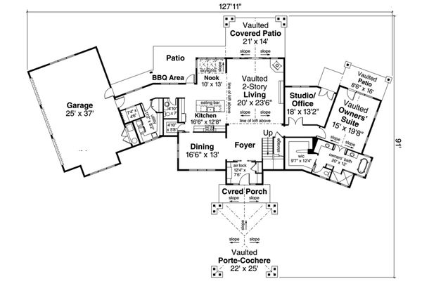 House Plan Design - Prairie Floor Plan - Main Floor Plan #124-1107