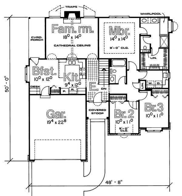 House Plan Design - Traditional Floor Plan - Main Floor Plan #20-154
