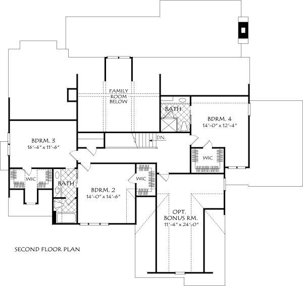 Farmhouse Floor Plan - Upper Floor Plan #927-997
