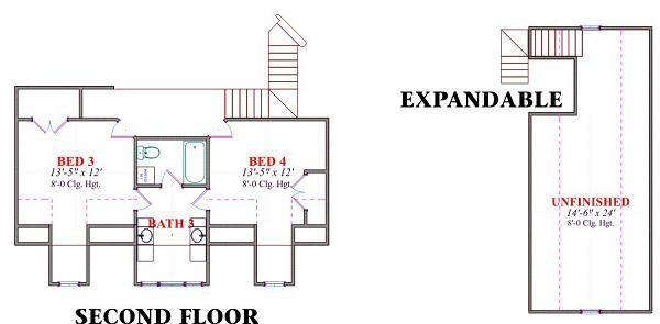 Country Floor Plan - Upper Floor Plan Plan #63-166