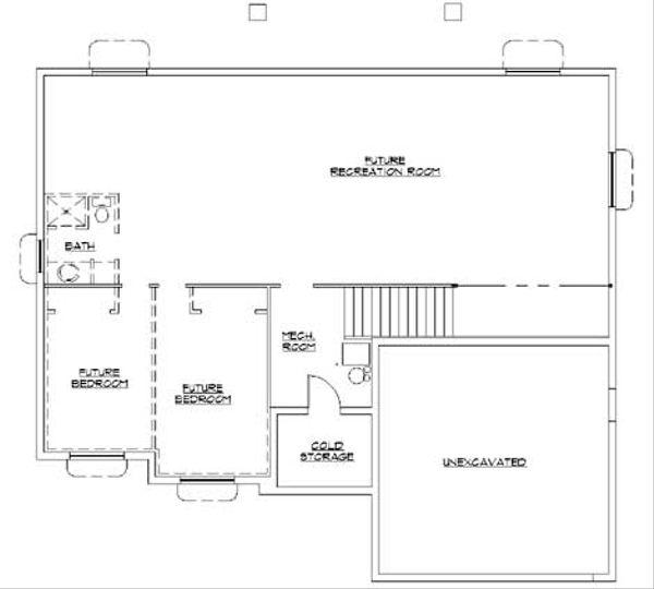 Ranch Floor Plan - Lower Floor Plan Plan #5-241