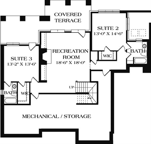 Craftsman Floor Plan - Lower Floor Plan Plan #453-12