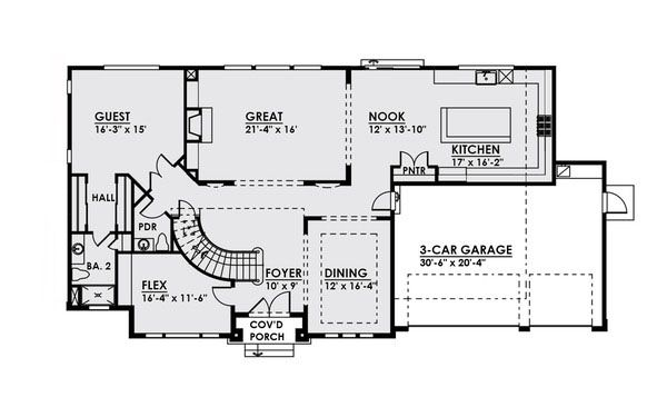 Craftsman Floor Plan - Main Floor Plan Plan #1066-20