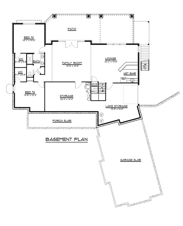 Craftsman Floor Plan - Lower Floor Plan #1064-68