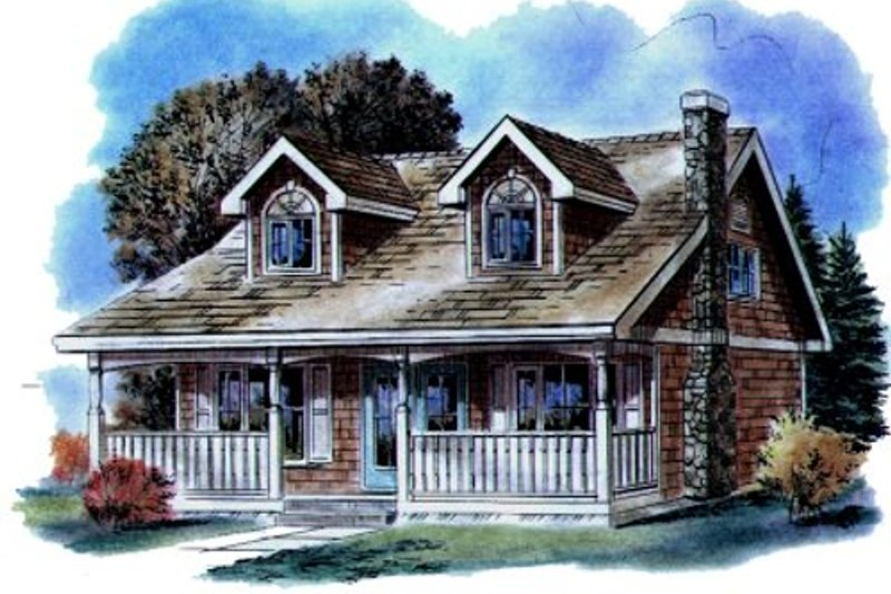 Country Style House Plan - 3 Beds 2 Baths 1311 Sq/Ft Plan #18-299 Exterior - Front Elevation